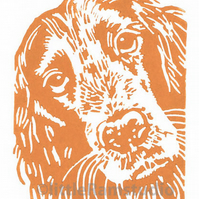 Dog - Cocker Spaniel - Original Hand Pulled Linocut Print