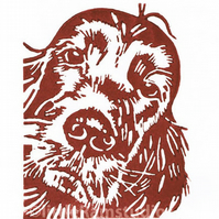Red Setter Dog - Original Hand Pulled Linocut Print