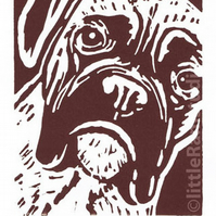 SALE 50% OFF! Boxer Dog - Original Hand Pulled Linocut Print