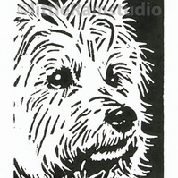 West Highland Terrier Dog - Original Hand Pulled Linocut Print