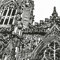 York Minster West Window - Original Hand Pulled Linocut Print