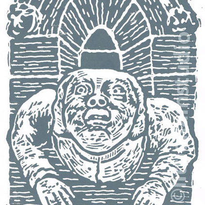 York Minster Grotesque No 1 - Original Hand Pulled Linocut Print