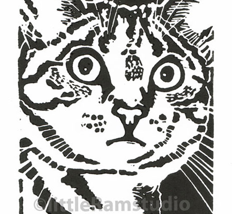 Cat - Beautiful Tabby Cat - Original Hand Pulled Linocut Print