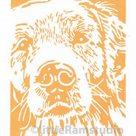 Golden Retriever Dog - Original Hand Pulled Linocut Print
