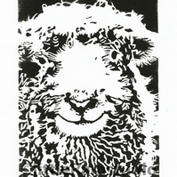 Sheep - Dartmoor Grey Faced Sheep - Original Hand Pulled Linocut Print