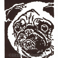 SALE 50% OFF! Dog Art - Pug Dog - Original Hand Pulled Linocut Print