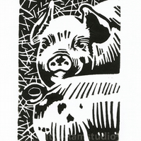 SALE 50% OFF! British Lop Piglets - Original Hand Pulled Linocut Print