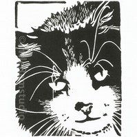 Cat Art - Mouser Cat - Original Hand Pulled Linocut Print