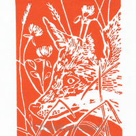 Fox Art -  Print titled Fox in Clover - Original Hand Pulled Linocut Print