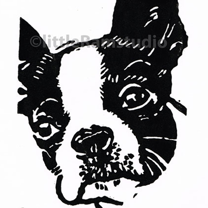 Boston Terrier Dog - Original Hand Pulled Linocut Print