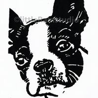 SALE 50% OFF! Boston Terrier Dog - Original Hand Pulled Linocut Print