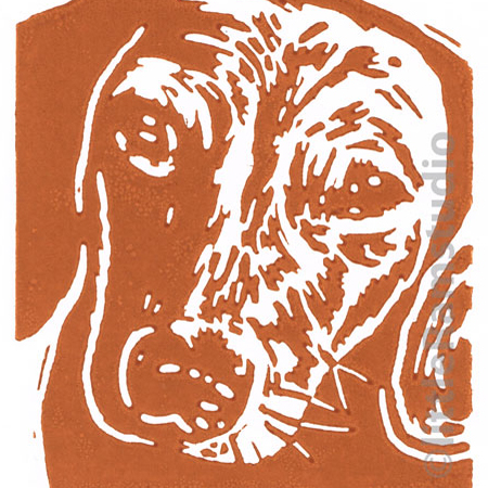 Dog - Dachshund Dog - Original Hand Pulled Linocut Print