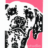 SALE 50% OFF! Dalmation Dog - Original Hand Pulled Linocut Print