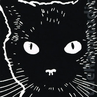 Cat print - Black Cat - Original Hand Pulled Linocut Print