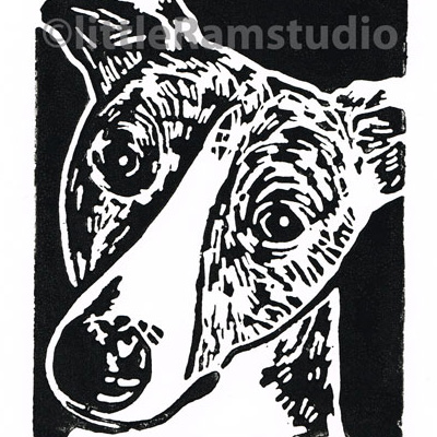 Black Brindle Whippet Dog - Original Hand Pulled Linocut Print