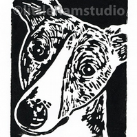SALE 50% OFF! Black Brindle Whippet Dog - Original Hand Pulled Linocut Print