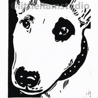 Dog Art - Bull Terrier - Original Hand Pulled Linocut Print