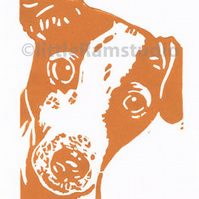 Jack Russell Dog - Original Hand Pulled Linocut Print