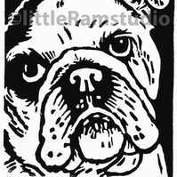 English Bulldog - Original Hand Pulled Linocut Print