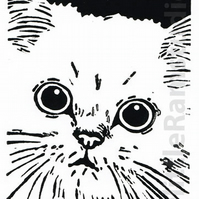 SALE 50% OFF! White Cat - Original Hand Pulled Linocut Print