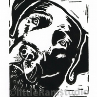 Black Labrador Dog - Original Hand Pulled Linocut Print