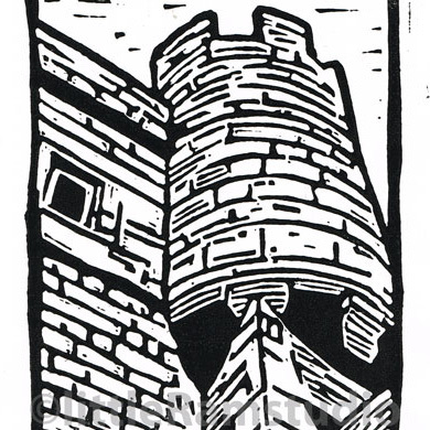 The Barbican - York City Walls Gateway - Original Hand Pulled Linocut Print