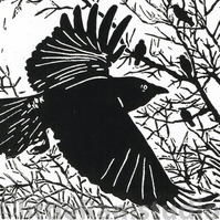 Dawn Flight - Black Crows - Original Hand Pulled Linocut Print