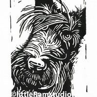 Scottie Dog - Original Hand Pulled Linocut Print