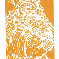 Yorkshire Terrier Dog - Original Hand Pulled Linocut Print