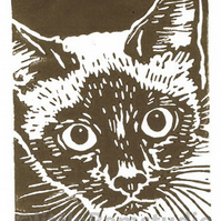 SALE 50% OFF! Siamese Cat - Original Hand Pulled Linocut Print