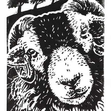 Swaledale Sheep - Original Hand Pulled Linocut Print