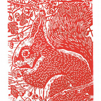Squirrel in the Hawthorn - Squirrel Art - Original Hand Pulled Linocut Print