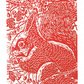 SALE 50% OFF! Squirrel in the Hawthorn - Squirrel Art -  Linocut Print