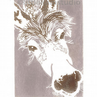 SALE 50% OFF! Grey Donkey - Original Hand Pulled Linocut Print