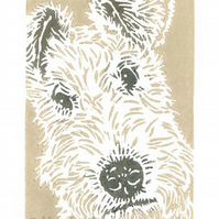 Wire Fox Terrier Dog - Original Hand Pulled Linocut Print