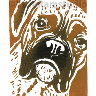 Dog - Boxer Dog - Black and Tan - Original Hand Pulled Linocut Print