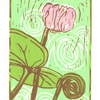 Cyclamen - Pink Cyclamen Flower - Original Limited Edition Linocut Print