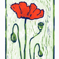 Poppy - Red Poppy Flower - Linocut Print