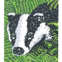 SALE 50% OFF! Badger art - Badger in the Bracken - Linocut Print