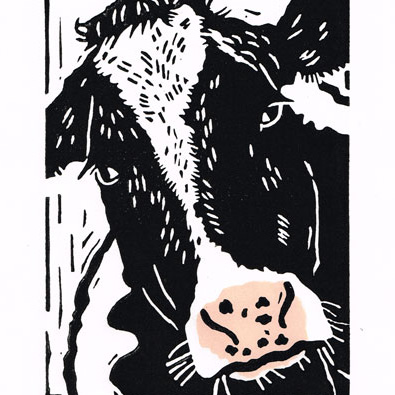 Cow - Friesian - Original Hand Pulled Linocut Print