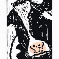 SALE 50% OFF! Cow - Friesian - Original Hand Pulled Linocut Print