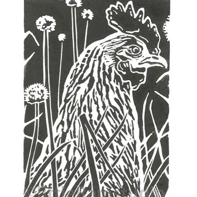 Hen amongst the Chives - Original Hand Pulled Linocut Print