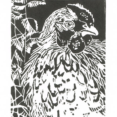 Hen in the Nettle bed - Original Hand Pulled Linocut Print