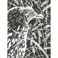 Hen Deep in the Weeds - Original Hand Pulled Linocut Print