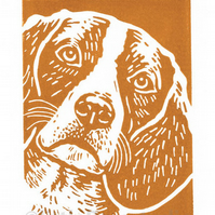 Beagle Dog - Original Hand Pulled Linocut Print