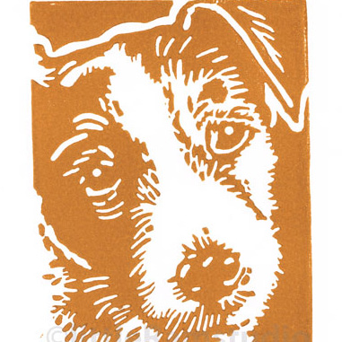 Wiry Jack Russell Dog - Original Hand Pulled Linocut Print