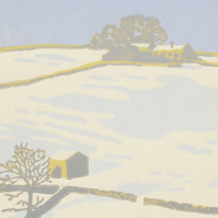 Snow Scene - Winter Dales - Original Limited Edition Linocut Reduction Print