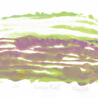 Abstract Art - Lavender Fields - Original OOAK Monoprint