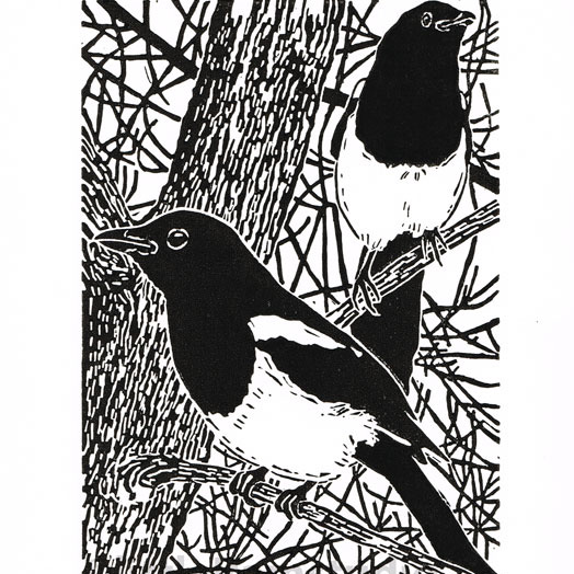 Magpies in the old Elm tree - Original Linocut Print