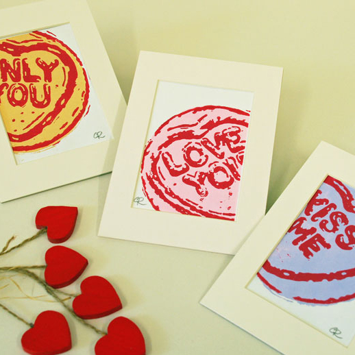 Loveheart Sweets x 3 - Original Hand Pulled Linocut Print